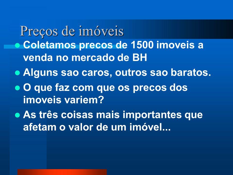 Preços de imóveis Coletamos precos de 1500 imoveis a venda no mercado de BH. Alguns sao caros, outros sao baratos.
