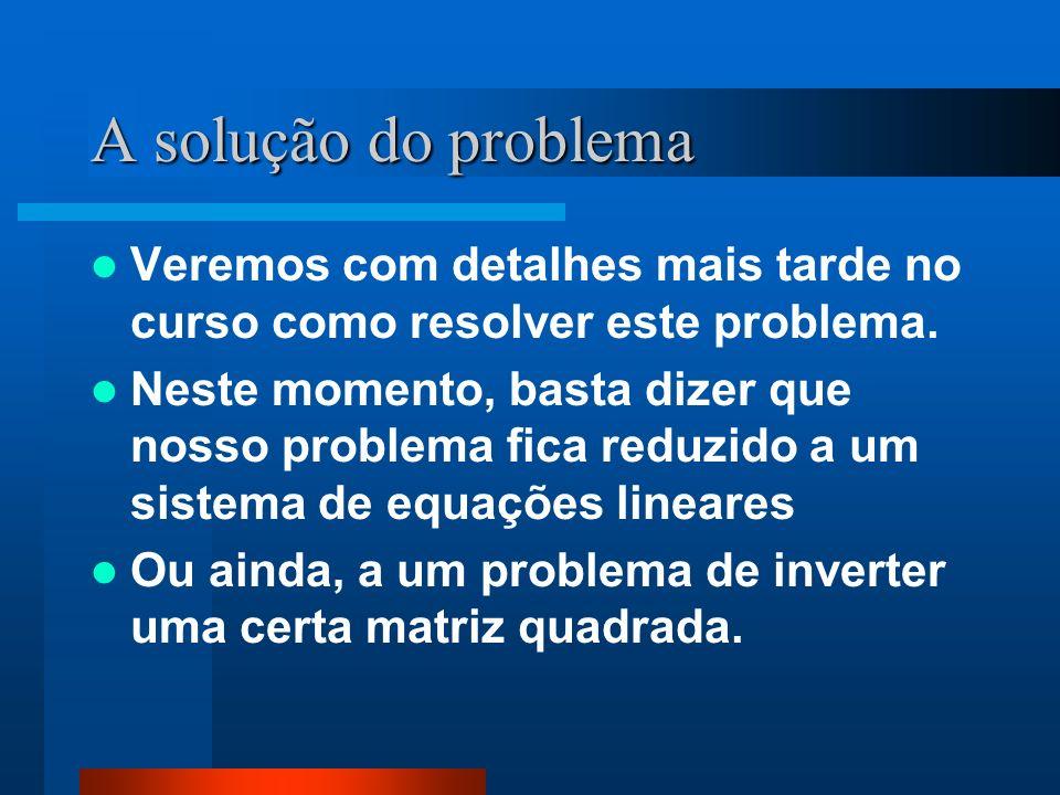 A solução do problemaVeremos com detalhes mais tarde no curso como resolver este problema.