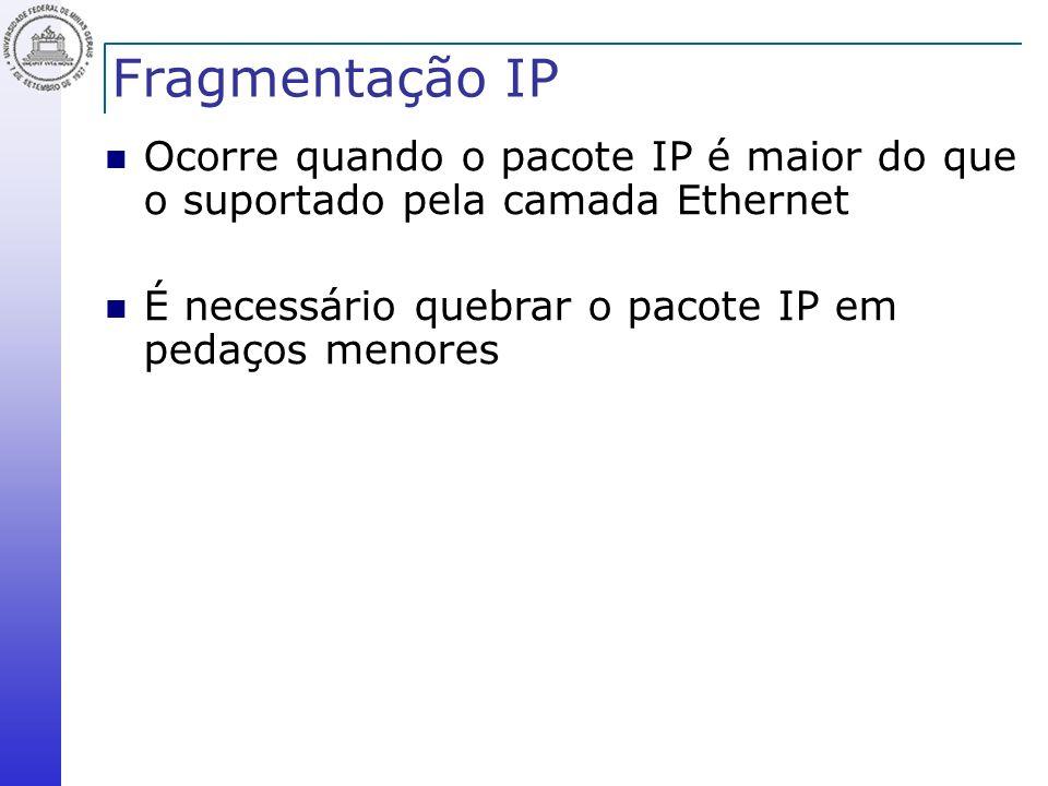Fragmentação IP Ocorre quando o pacote IP é maior do que o suportado pela camada Ethernet.