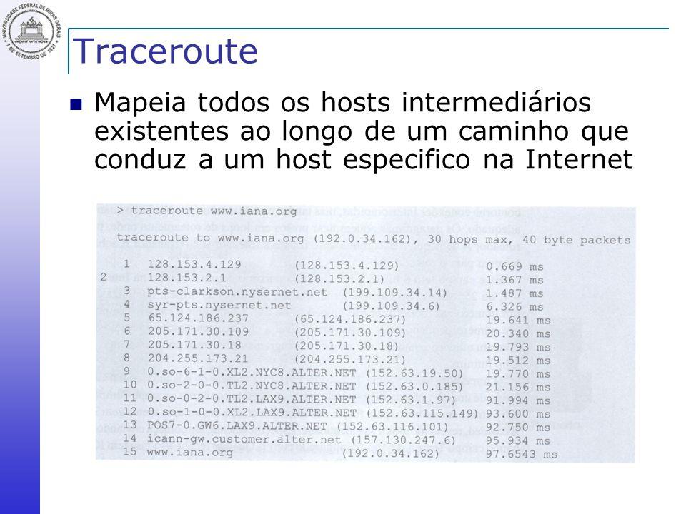 Traceroute Mapeia todos os hosts intermediários existentes ao longo de um caminho que conduz a um host especifico na Internet.