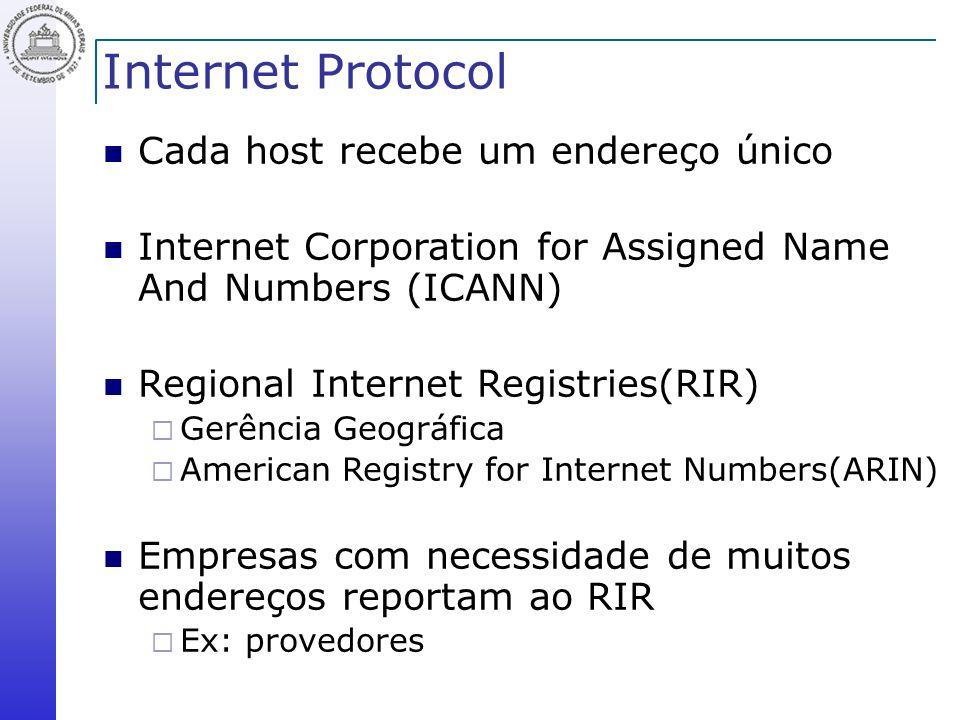 Internet Protocol Cada host recebe um endereço único