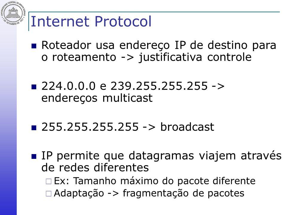 Internet Protocol Roteador usa endereço IP de destino para o roteamento -> justificativa controle.