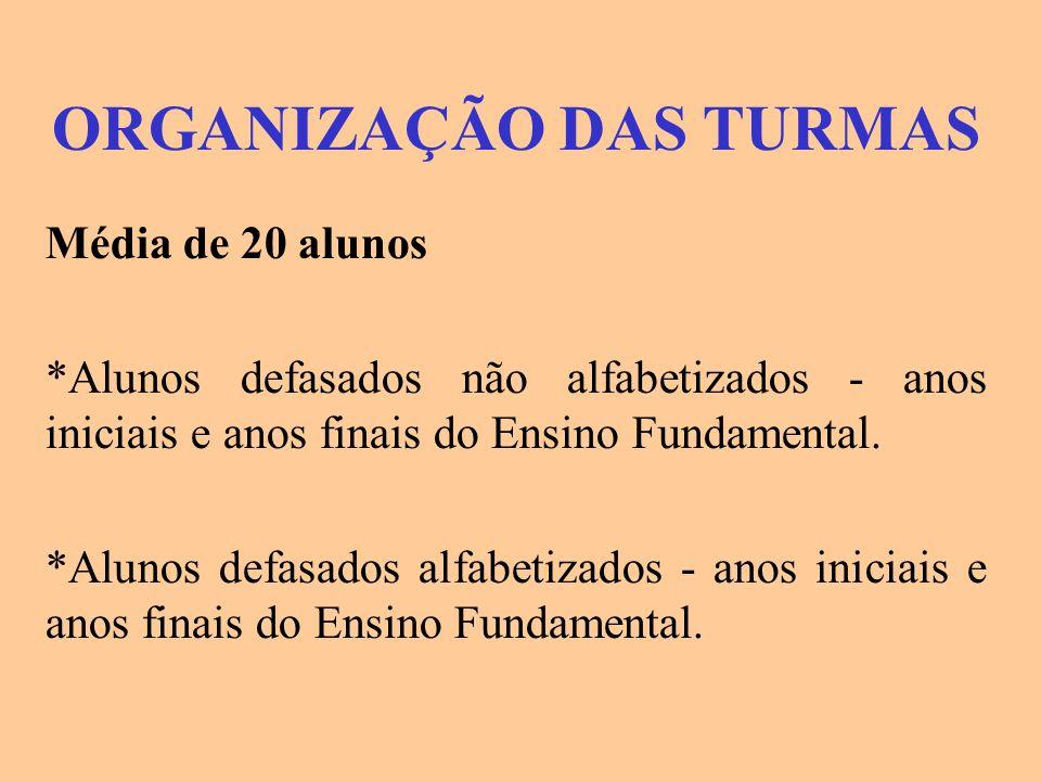 ORGANIZAÇÃO DAS TURMAS