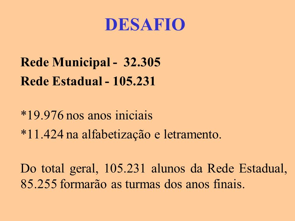 DESAFIO Rede Municipal - 32.305 Rede Estadual - 105.231