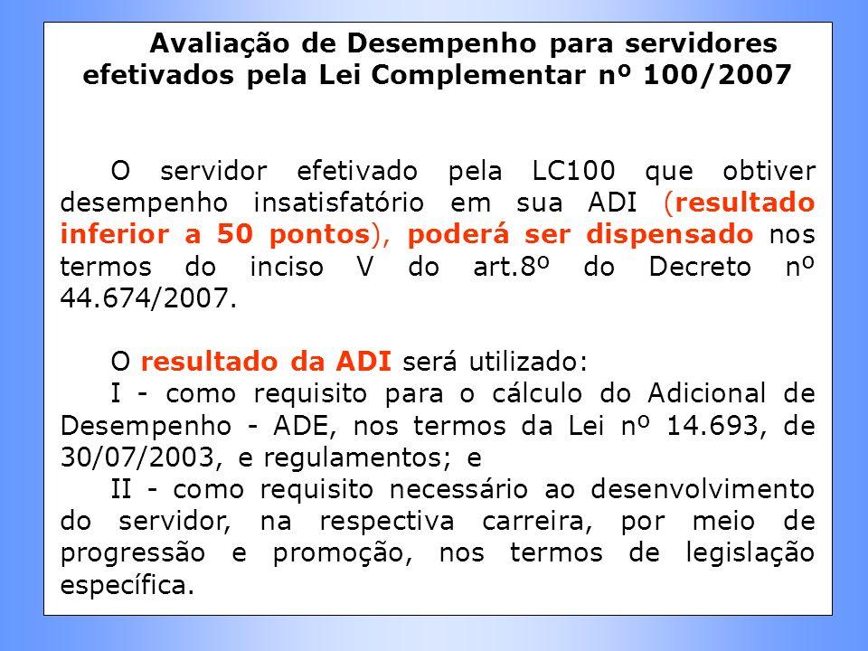 Avaliação de Desempenho para servidores efetivados pela Lei Complementar nº 100/2007