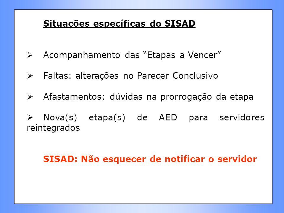 Situações específicas do SISAD