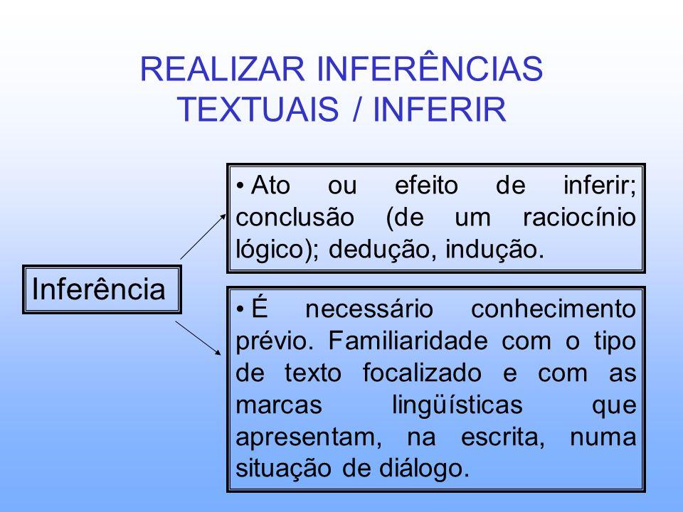 REALIZAR INFERÊNCIAS TEXTUAIS / INFERIR