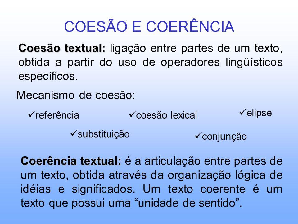 COESÃO E COERÊNCIA Coesão textual: ligação entre partes de um texto, obtida a partir do uso de operadores lingüísticos específicos.