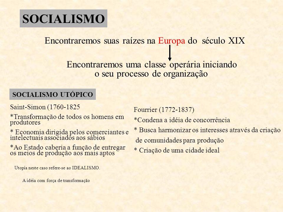 SOCIALISMO Encontraremos suas raízes na Europa do século XIX