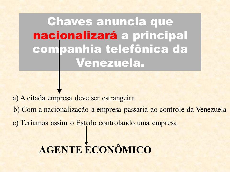 Chaves anuncia que nacionalizará a principal companhia telefônica da Venezuela.