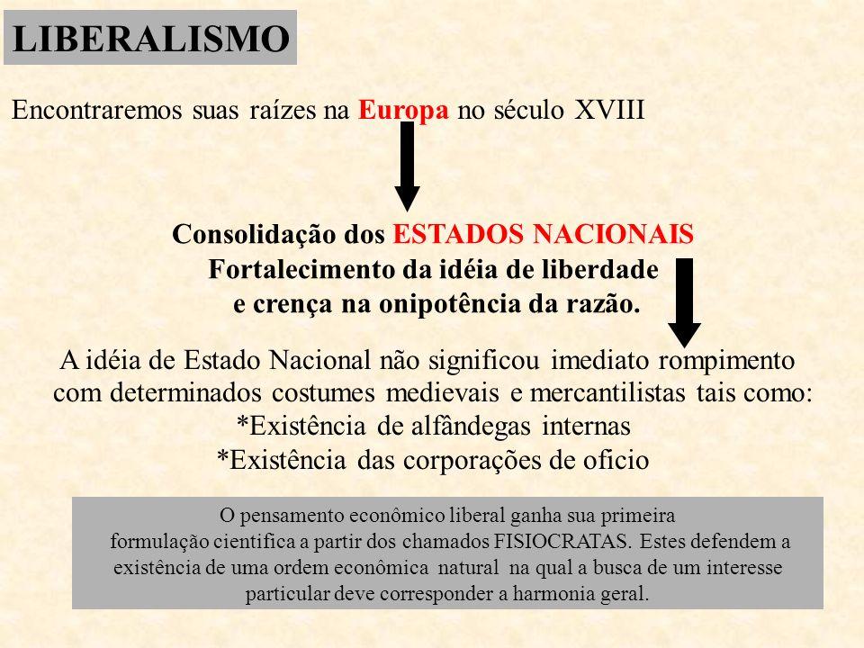 LIBERALISMO Encontraremos suas raízes na Europa no século XVIII
