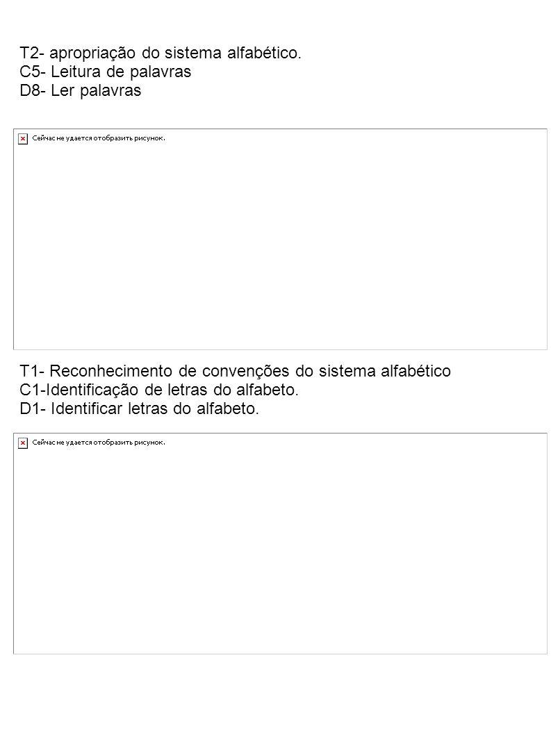 T2- apropriação do sistema alfabético.