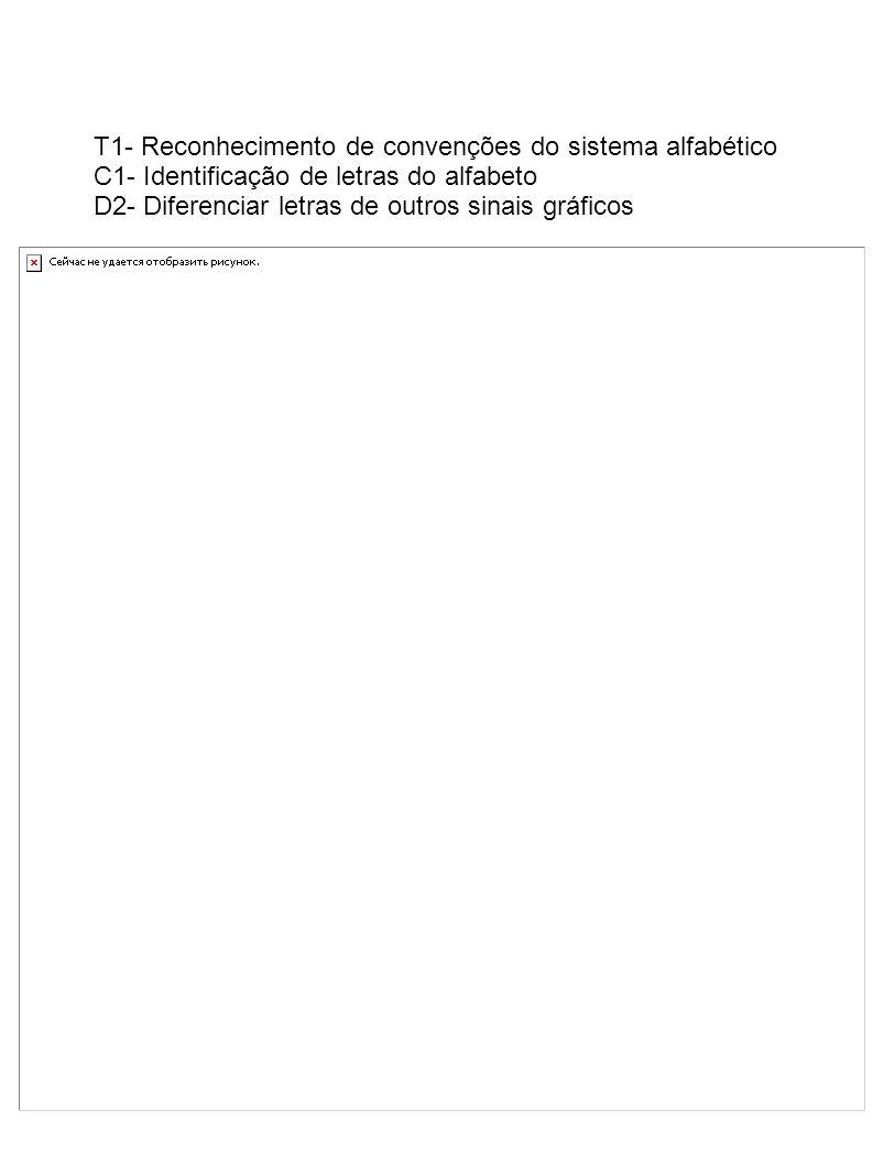 T1- Reconhecimento de convenções do sistema alfabético