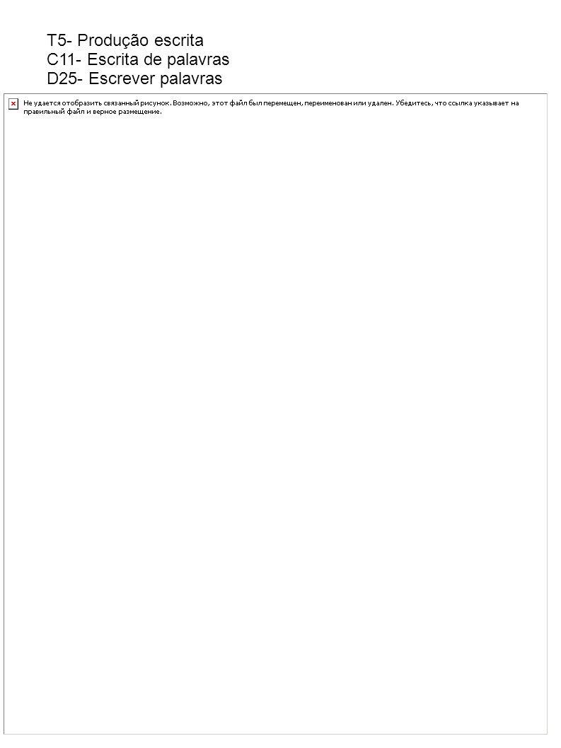 T5- Produção escrita C11- Escrita de palavras D25- Escrever palavras