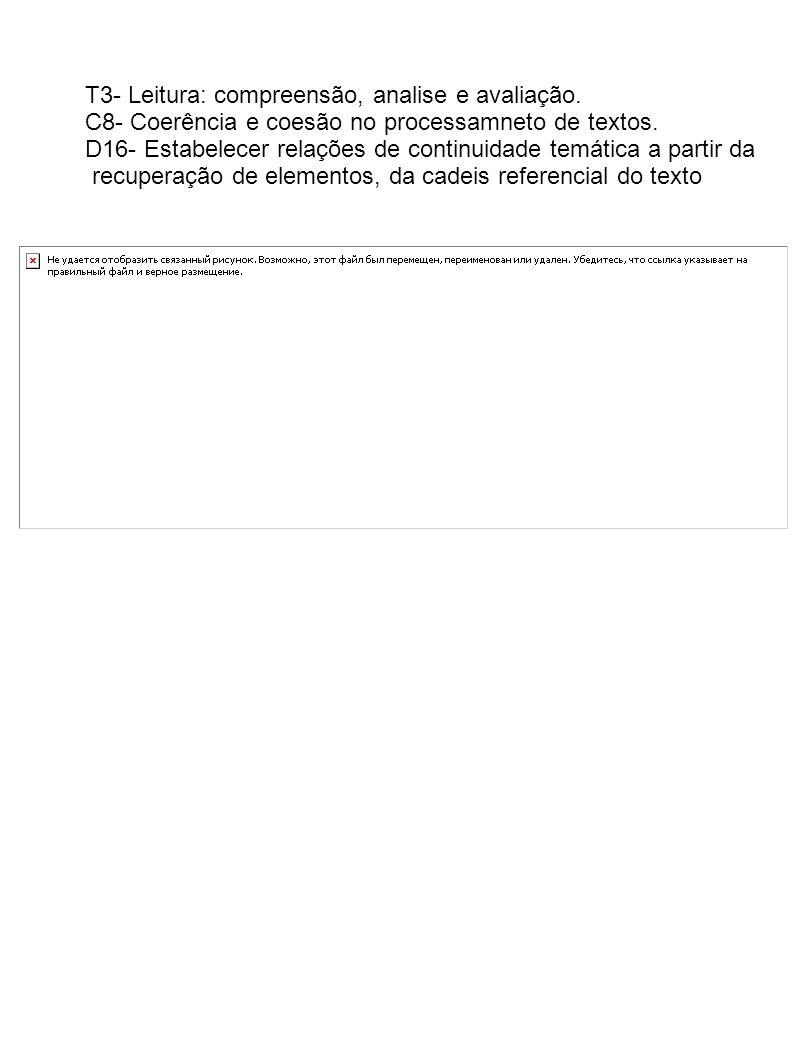T3- Leitura: compreensão, analise e avaliação.
