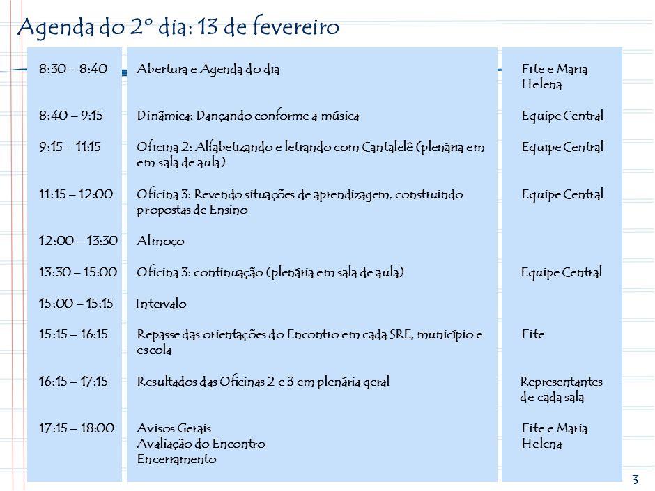 Agenda do 2º dia: 13 de fevereiro