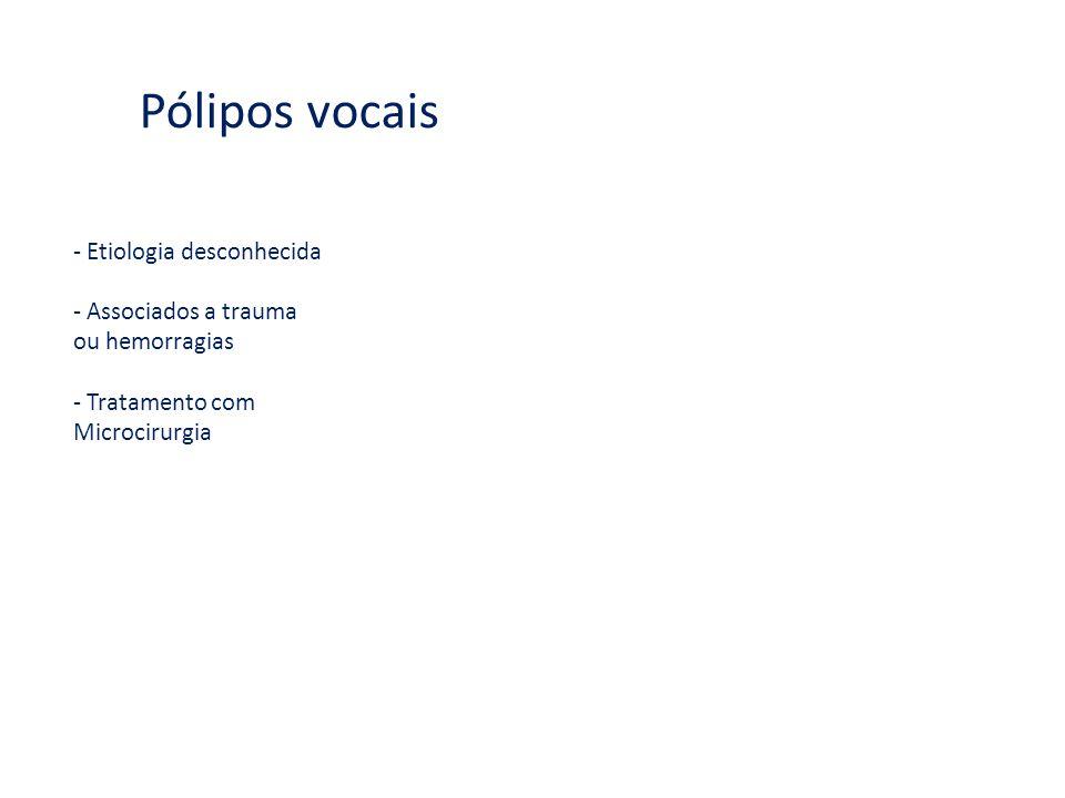 Pólipos vocais - Etiologia desconhecida - Associados a trauma