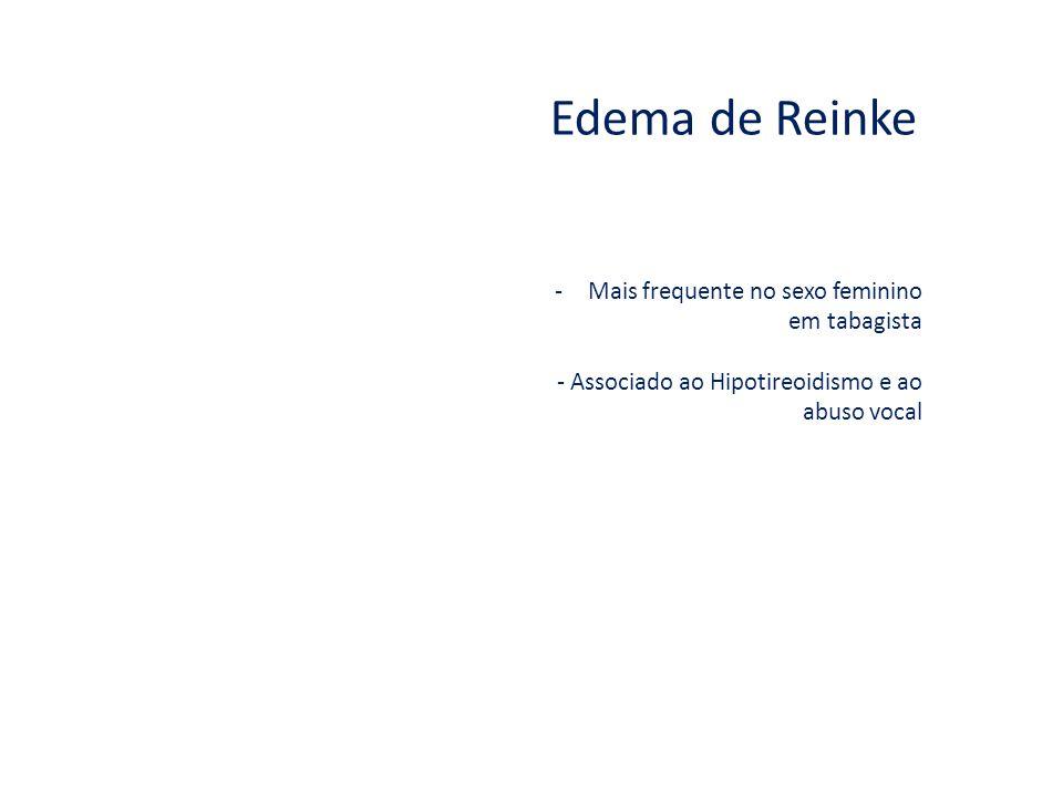 Edema de Reinke Mais frequente no sexo feminino em tabagista