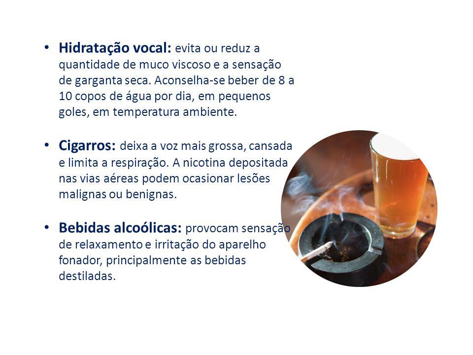 Hidratação vocal: evita ou reduz a quantidade de muco viscoso e a sensação de garganta seca. Aconselha-se beber de 8 a 10 copos de água por dia, em pequenos goles, em temperatura ambiente.
