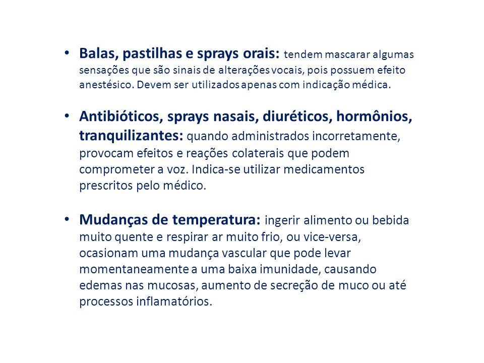Balas, pastilhas e sprays orais: tendem mascarar algumas sensações que são sinais de alterações vocais, pois possuem efeito anestésico. Devem ser utilizados apenas com indicação médica.