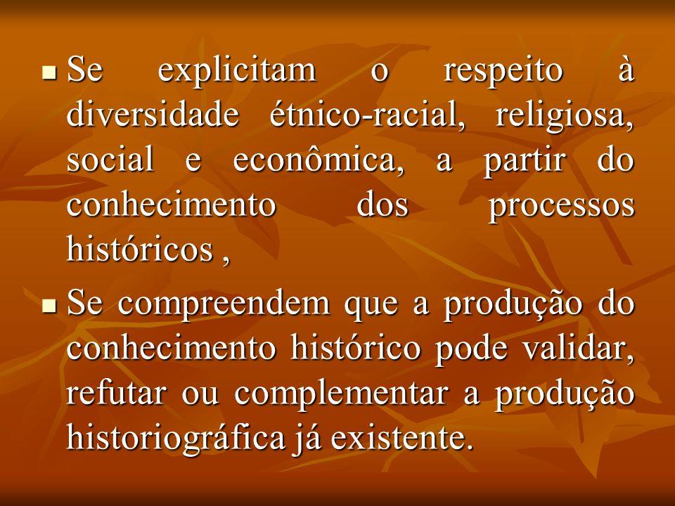 Se explicitam o respeito à diversidade étnico-racial, religiosa, social e econômica, a partir do conhecimento dos processos históricos ,