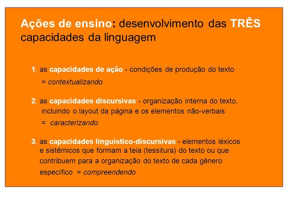 Ações de ensino: desenvolvimento das TRÊS capacidades da linguagem