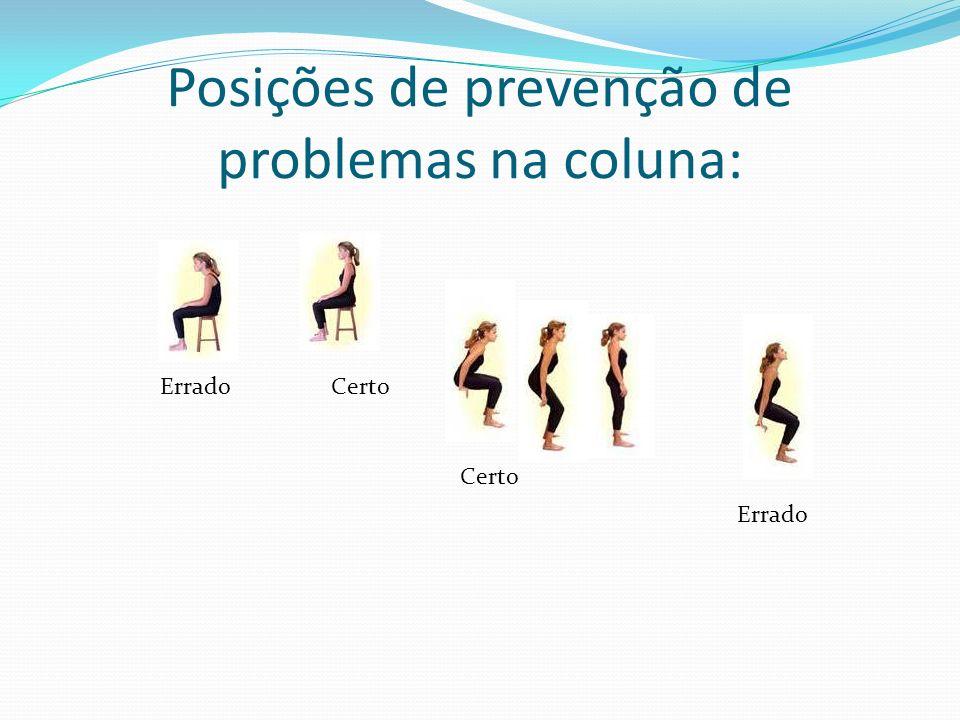 Posições de prevenção de problemas na coluna: