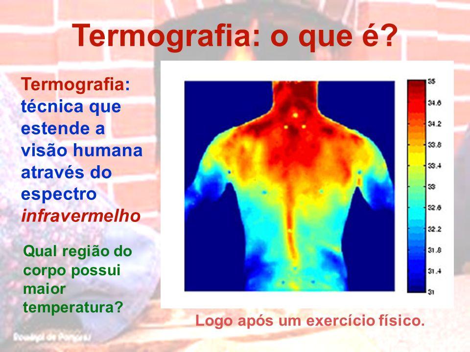 Termografia: o que é Logo após um exercício físico. Termografia: técnica que estende a visão humana através do espectro infravermelho.