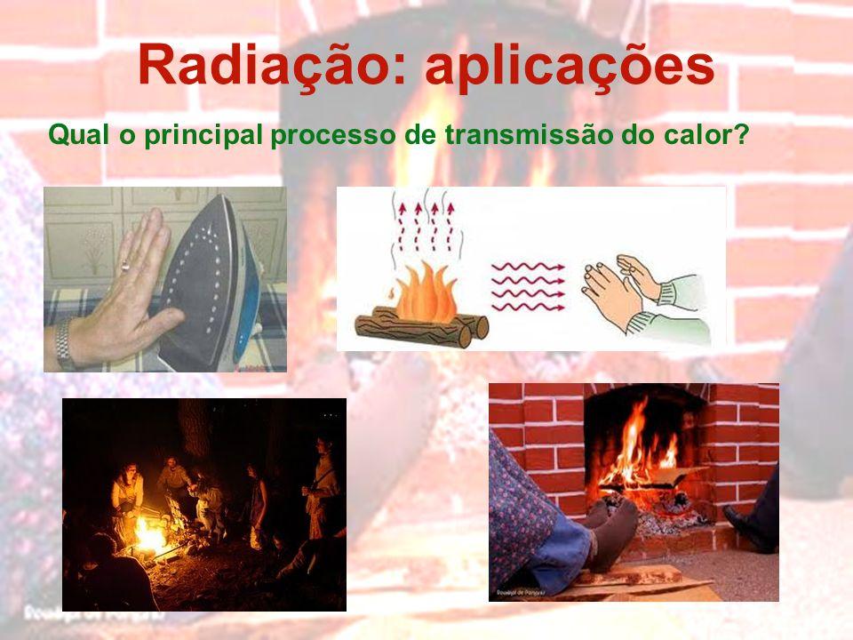 Radiação: aplicações Qual o principal processo de transmissão do calor