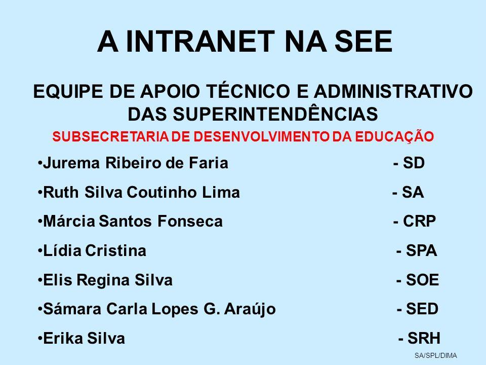 A INTRANET NA SEEEQUIPE DE APOIO TÉCNICO E ADMINISTRATIVO DAS SUPERINTENDÊNCIAS. SUBSECRETARIA DE DESENVOLVIMENTO DA EDUCAÇÃO.