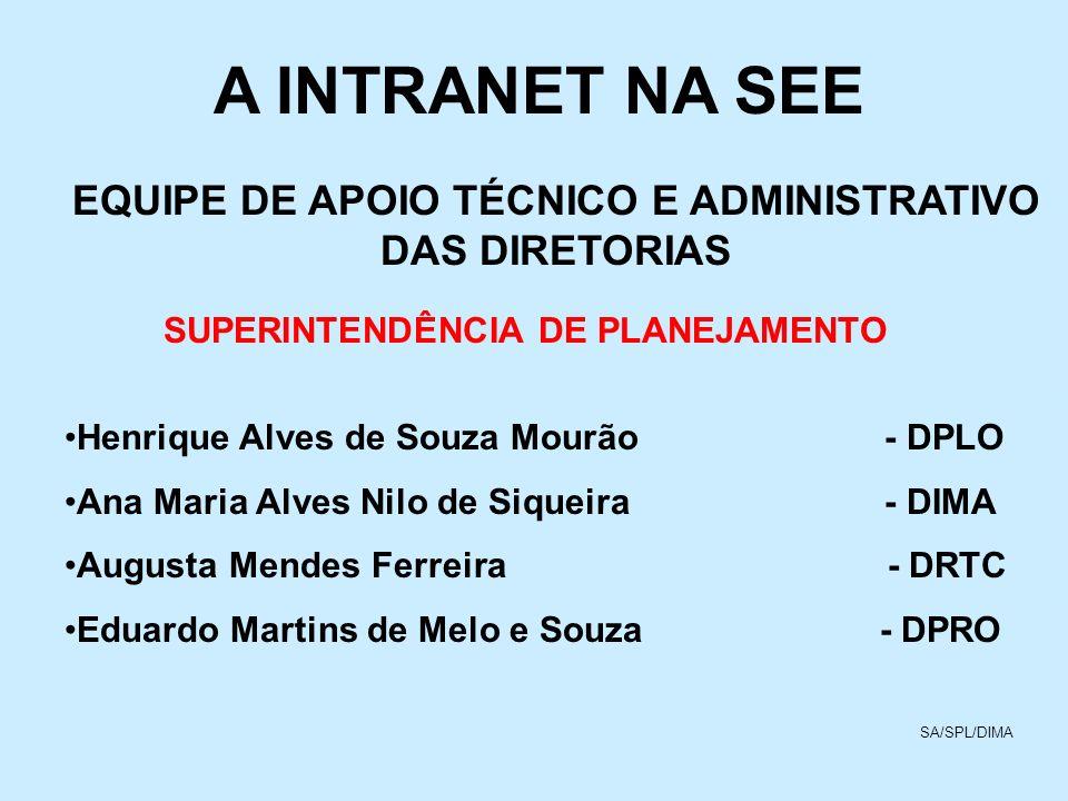 A INTRANET NA SEE EQUIPE DE APOIO TÉCNICO E ADMINISTRATIVO DAS DIRETORIAS. SUPERINTENDÊNCIA DE PLANEJAMENTO.