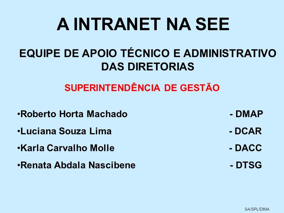 A INTRANET NA SEE EQUIPE DE APOIO TÉCNICO E ADMINISTRATIVO DAS DIRETORIAS. SUPERINTENDÊNCIA DE GESTÃO.