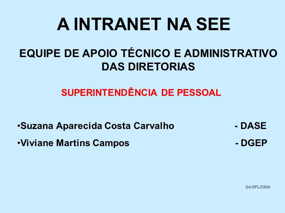 A INTRANET NA SEE EQUIPE DE APOIO TÉCNICO E ADMINISTRATIVO DAS DIRETORIAS. SUPERINTENDÊNCIA DE PESSOAL.