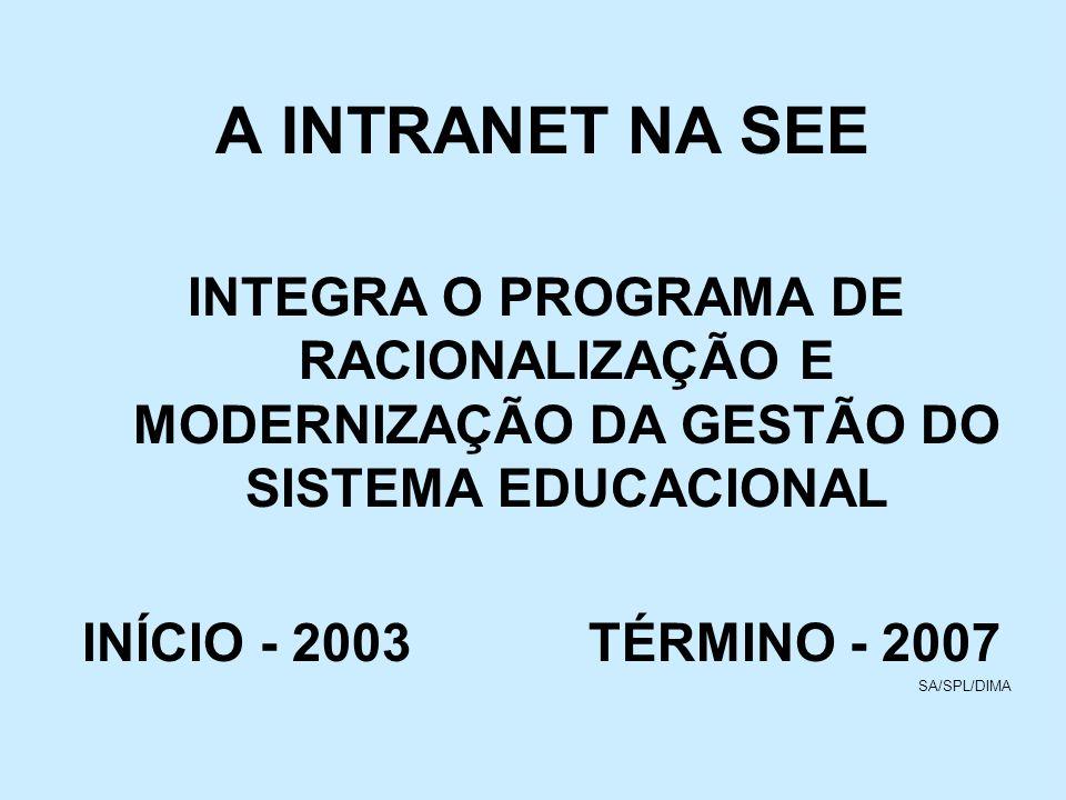 A INTRANET NA SEE INTEGRA O PROGRAMA DE RACIONALIZAÇÃO E MODERNIZAÇÃO DA GESTÃO DO SISTEMA EDUCACIONAL.