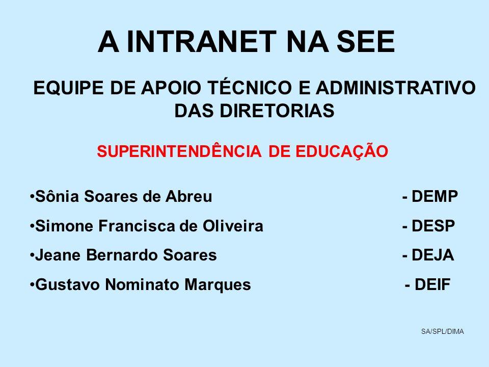A INTRANET NA SEE EQUIPE DE APOIO TÉCNICO E ADMINISTRATIVO DAS DIRETORIAS. SUPERINTENDÊNCIA DE EDUCAÇÃO.
