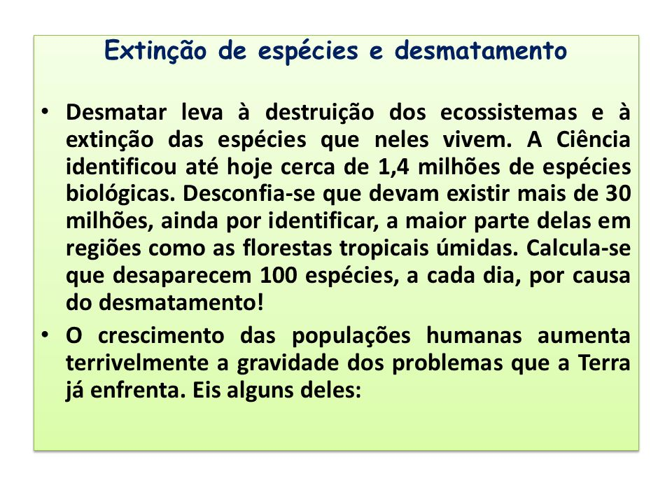 Extinção de espécies e desmatamento