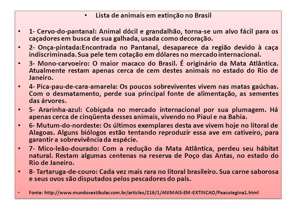 Lista de animais em extinção no Brasil