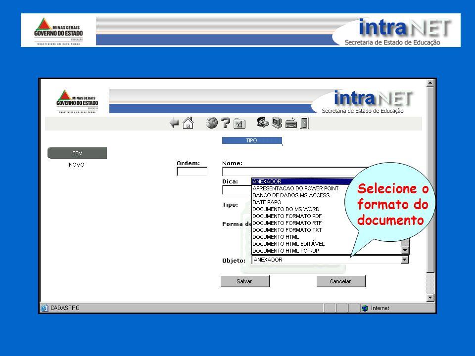 Selecione o formato do documento