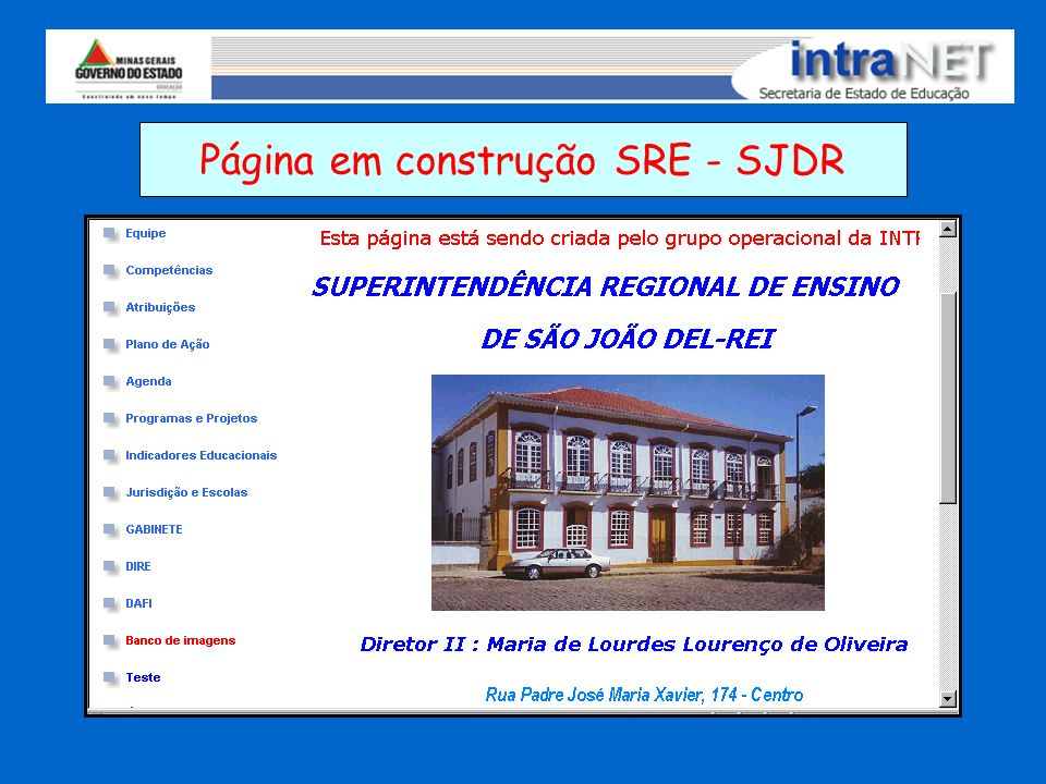 Página em construção SRE - SJDR