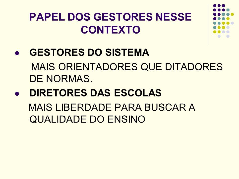 PAPEL DOS GESTORES NESSE CONTEXTO