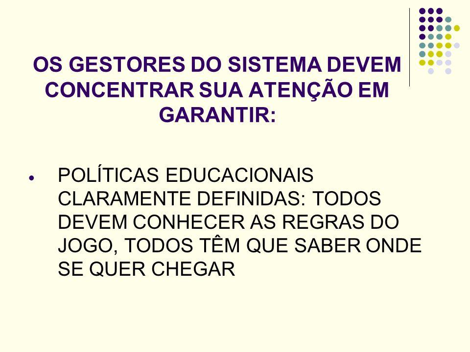OS GESTORES DO SISTEMA DEVEM CONCENTRAR SUA ATENÇÃO EM GARANTIR: