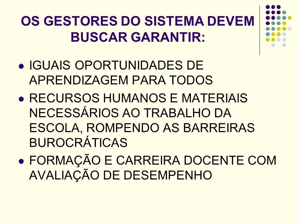 OS GESTORES DO SISTEMA DEVEM BUSCAR GARANTIR: