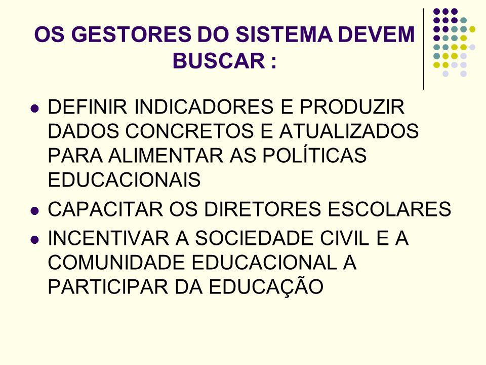 OS GESTORES DO SISTEMA DEVEM BUSCAR :