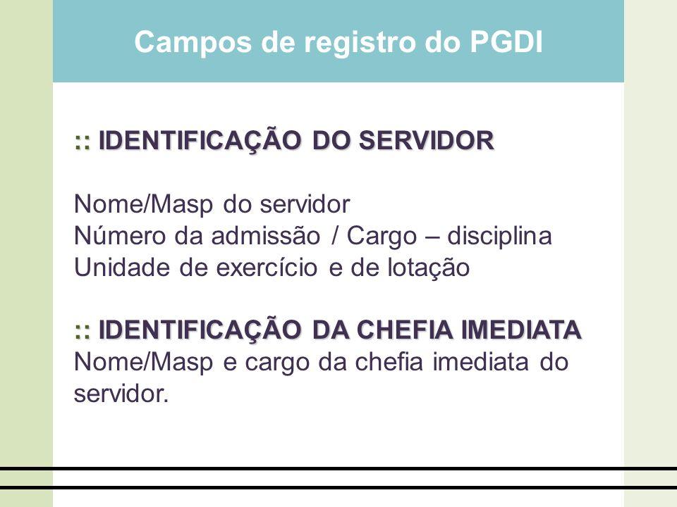 Campos de registro do PGDI