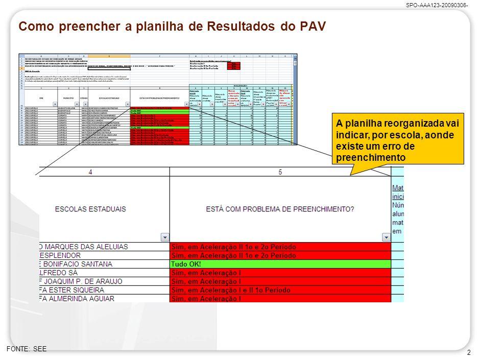 Como preencher a planilha de Resultados do PAV