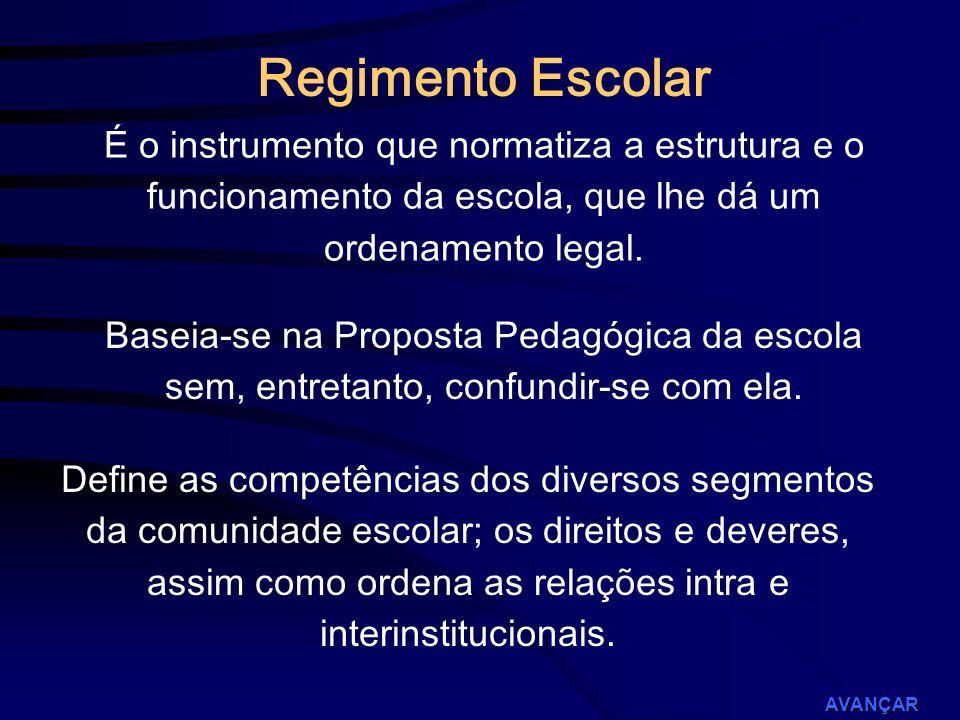 Regimento Escolar É o instrumento que normatiza a estrutura e o funcionamento da escola, que lhe dá um ordenamento legal.