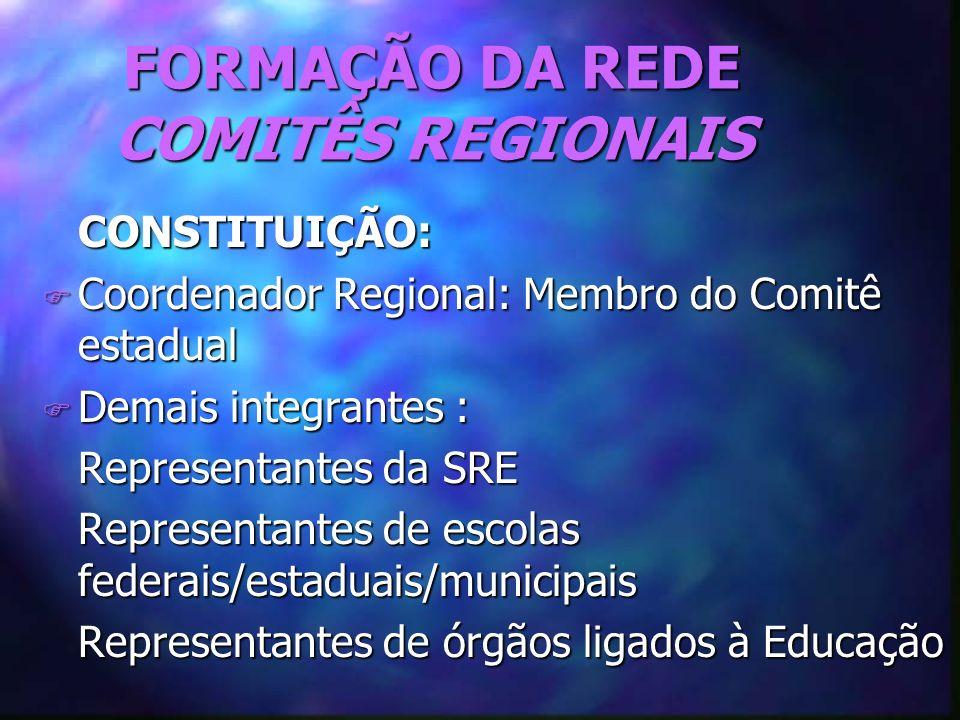 FORMAÇÃO DA REDE COMITÊS REGIONAIS