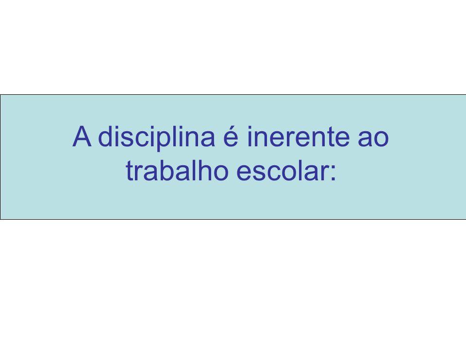A disciplina é inerente ao trabalho escolar: