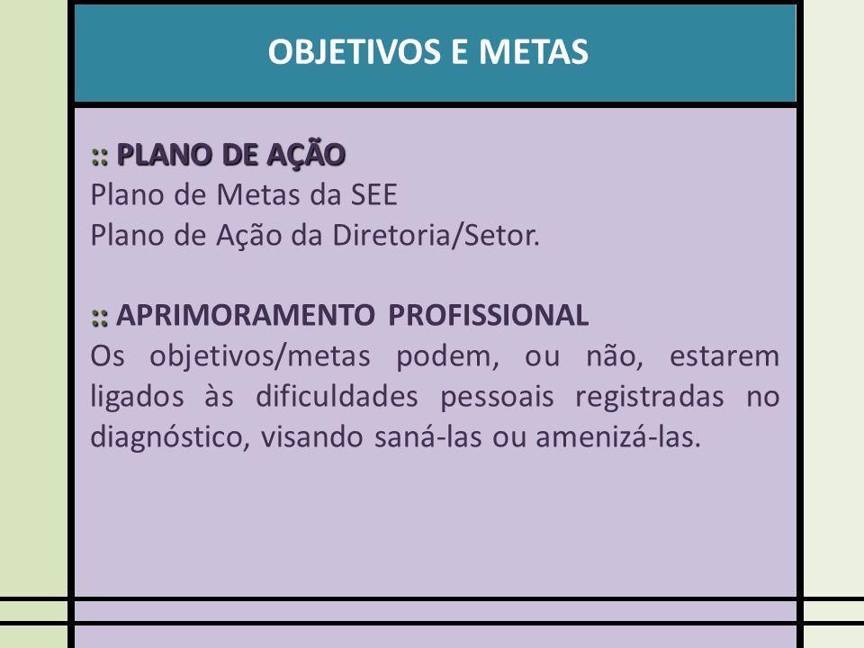 OBJETIVOS E METAS :: PLANO DE AÇÃO Plano de Metas da SEE