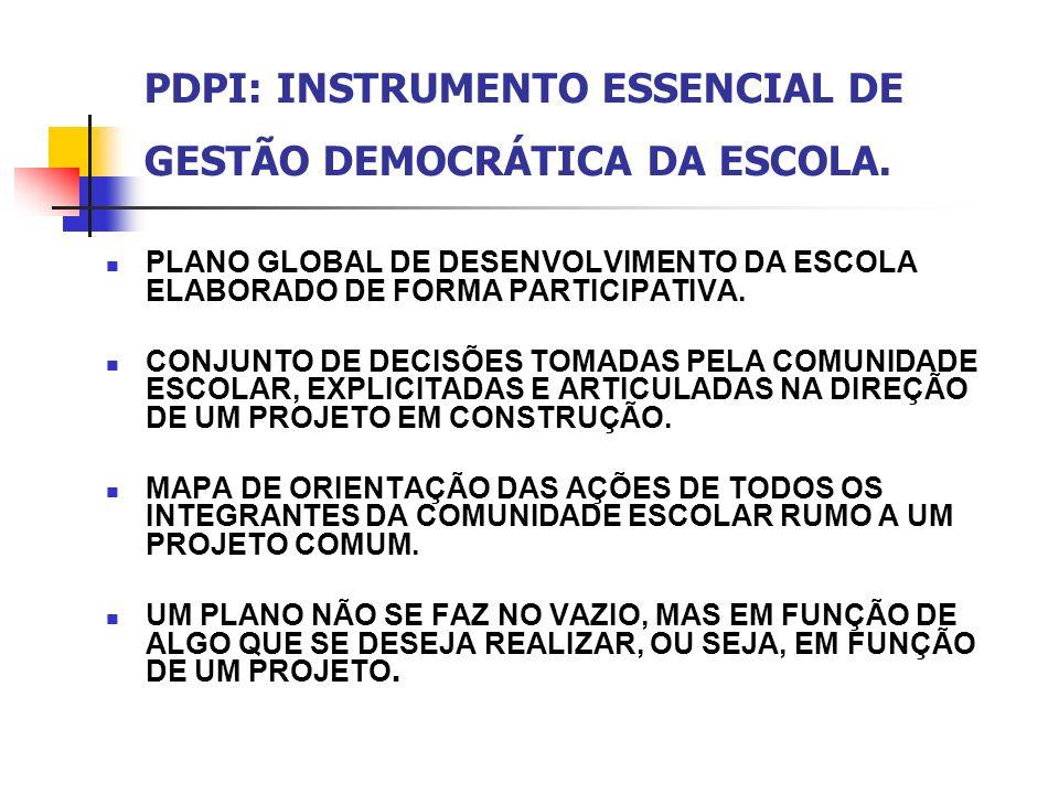 PDPI: INSTRUMENTO ESSENCIAL DE GESTÃO DEMOCRÁTICA DA ESCOLA.